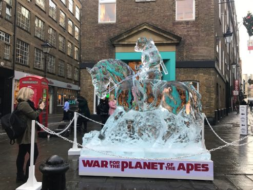 Ice sculpture in Covent Garden , London